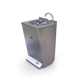 Ayaktan Kumandalı (pedallı) El Yıkama Evyesi - çift su girişli - sabun dispenserli - 50x45x85 cm