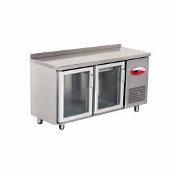 EMPERO Tezgah Tipi Buzdolabı (Fanlı) - 2 CAM Kapılı - 150x60x85 cm