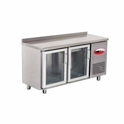 EMPERO Tezgah Tipi Buzdolabı (Fanlı) - 2 CAM Kapılı - 150x70x85 cm