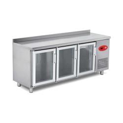 EMPERO Tezgah Tipi Buzdolabı (Fanlı) - 3 CAM Kapılı - 200x70x85 cm