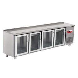 EMPERO Tezgah Tipi Buzdolabı (Fanlı) - 4 CAM Kapılı - 255x60x85 cm