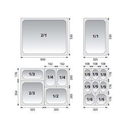 KAPP Gastronom Küvet-GN 1/2x65 krom küvet-standart