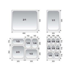 KAPP Gastronom Küvet-GN 1/3x150 krom küvet-standart
